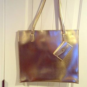 gold and black tote bags